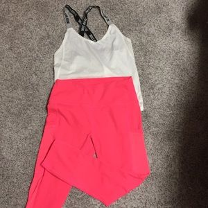 Hot Coral Pink High-Waisted Fabletics Leggings